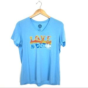Life is Good LOVE Graphic T-Shirt Blue Large A1